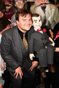 Jack Black and Slappy - Goosebumps Horror Movie Characters, Horror Movies, Goosebumps 2015, Slappy The Dummy, Iron Man Suit, Jack Black, Movies And Tv Shows, Movie Stars, Movie Tv