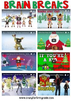 My Favorite Holiday Brain Breaks!crazyforfirst… My Favorite Holiday Brain Breaks! Classroom Fun, Classroom Activities, Christmas Activities, Winter Activities, Just Dance Kids, Brain Break Videos, Theme Noel, Preschool Christmas, Brain Breaks