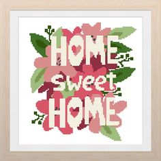 Home Sweet Home Cross Stitch Pattern modern cross stitch Cross Stitch House, Cross Stitch Kitchen, Modern Cross Stitch, Cross Stitch Designs, Cross Stitch Patterns, Hobbies For Kids, Hobbies And Crafts, Free Cross Stitch Charts, House Blessing