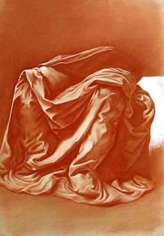 Hélène HUGON - D'après un drapé de De Vinci - drawing in sanguine