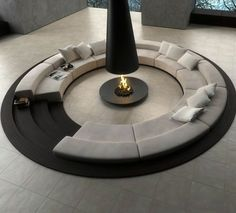Furniture Blue Lounge Design Also Black White Circular Conversation Pit Central Fireplace Modern Furniture Living Room Sets Ashley Various Seating Chairs Lounge Small Living Spaces Area Conversation Pit, Sunken Living Room, Living Rooms, Living Spaces, Foyers, Sitting Area, Modern Interior Design, Interior Ideas, Modern Interiors