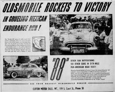 Hershel McGriff  Oldsmobile mexican road race ad