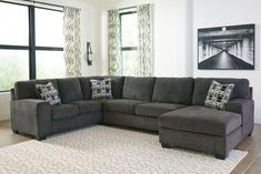 Fall in love with the Ashley Ballinasloe Smoke LAF Sofa/Couch, Armless Loveseat & RAF Corner Chaise Sectional by Signature Design by Ashley at Bargains and Buyouts, serving Tri-County, West Chester and Winton Woods in Cincinnati, OH Small Sectional, Living Room Sectional, Sectional Sofas, Fabric Sectional, Dark Grey Sectional, Oversized Sectional Sofa, Sofa Bed, Living Room Sets, Home Living Room