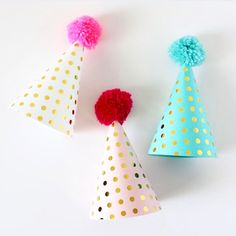 What's not to love about these gold polka dot party hats - These are the perfect addition to any celebration!