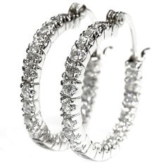 Sterling Silver Round Cubic Zirconia Sterling Silver Hoop Earrings -- Click image for more details.