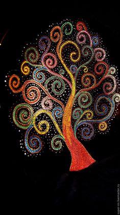 """Купить Тарелка """"Древо жизни"""" - комбинированный, древо жизни, радужный, точечная роспись, ручная работа"""