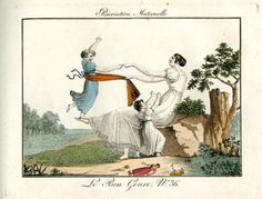 Plate 36: a mother plays with her two children in a park; their toys lie beside her. 1812    Legs of steel...  Hand-coloured etching