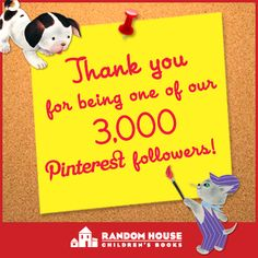THANK YOU for being one of our 3,000 Pinterest followers, and helping to spread the love of reading!