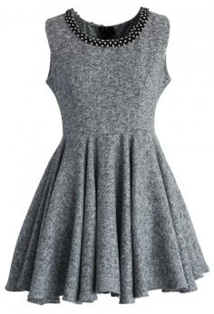 Embellished Grey Twill Skater Dress - Retro, Indie and Unique Fashion