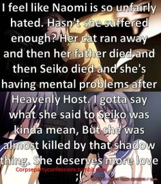 BUT IT LIKE NAOMI! Still.. she suffered way to much and became almost isane in the end, If it would be me, I would seriously have no reason to live anymore SO SAD - Corpse Party