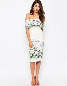 ASOS Bardot Off The Shoulder Midi Pencil Dress In Border Floral