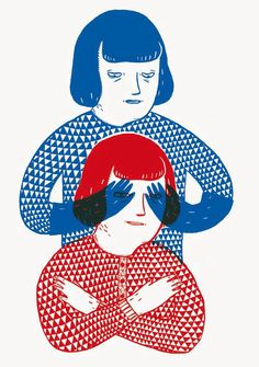 red and blue by amelie fontaine linogravure?