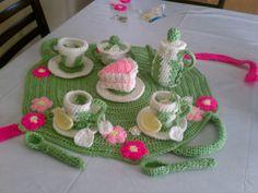 crocheted tea set