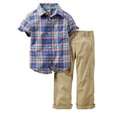 Carter's Plaid Button-Down Shirt & Pants Set - Baby Boy