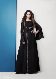 Kurtis & Kurtas Women's Black Embroidered Georgette Kurti Fabric: Georgette Lining: American Crepe Sleeve Length: Long Sleeves Pattern: Embroidered Combo of: Single Sizes: XL (Bust Size: 42 in Size Length: 46 in)  L (Bust Size: 40 in Size Length: 46 in)  M (Bust Size: 38 in Size Length: 46 in)  XXL (Bust Size: 44 in Size Length: 46 in) Country of Origin: India Sizes Available: S, M, L, XL, XXL, XXXL   Catalog Rating: ★4 (502)  Catalog Name: Designer Festive Kurtis CatalogID_1943685 C74-SC1001 Code: 087-10611191-9252