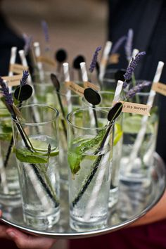 Elegant Leicestershire Wedding With Bride In Benjamin Roberts.  Image by Matt Parry #drinks #reception #lavender