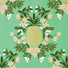 don't forget the lost world of wallpaper (especially for decor! pineapple mint by Rifle Paper Mint Wallpaper, Pineapple Wallpaper, Pattern Wallpaper, Surface Pattern Design, Pattern Art, Print Patterns, Pineapple Mint, Image Deco, Poster S