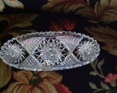 Cut Crystal Pickle or Relish Oval Dish Tea Service, Chrome, Trending Outfits, Unique Jewelry, Bling, Handmade Gifts, Crystals, Pickle, Silver