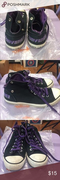 Converse Women's tennis shoes. Size 9.5 Converse Women's tennis shoes. Size 9.5. Black & purple. Pre-loved. Converse Shoes Sneakers