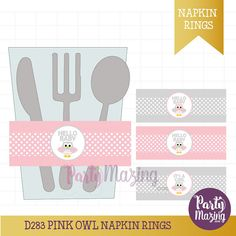 Owl Napkin Rings, Pink Owl Baby Shower, Pink It's a Girl ,Printable Napkin Rings , Instant download, Pink Owl Baby Shower Collection D283 – Partymazing