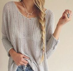 long hair styles with bangs Pretty Shirts, Beauty Advice, Cute Fall Outfits, Beautiful Long Hair, Sweater Weather, World Of Fashion, Women's Fashion, Grey Sweater, What To Wear