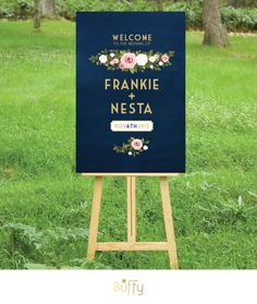 $20 on ETSY | A Gold & Navy Chalkboard wedding welcome sign is the perfect introduction to your special day. A mix of art deco and modern type, paired with classic roses.
