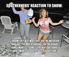 Can't forget the milk and the bread cause that little bit of snow will shut the town down! Haha - love living in the south but being from the north