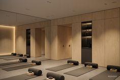 Small Yoga Studio interior design project by Bezmirno Architect. Yoga Studio Interior, Yoga Studio Design, Gym Interior, Home Gym Design, Spa Design, Pilates Studio, Studio Logo, Studio Studio, Modern Spaces