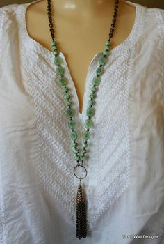 Czech glass chain tassle necklace in aqua and antique brass by Carol Wall spring 2014 Czech spring 2014 SRAJD