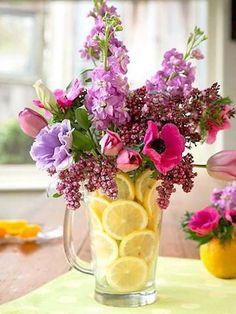 decorar vasos de vidro - limões