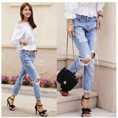 19.95$  Buy now - http://aligpa.shopchina.info/go.php?t=32702788478 - Denim jeans pants women big hole ripped designer jeans women trousers vintage Fashion  2017 summer capris pencil pants S M L 19.95$ #buychinaproducts