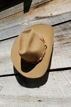 Vintage 4X STETSON Buff Felt Cowboy Hat w/Braided Leather Hat Band - sz 7 1/8 by delilahsdeluxe on Etsy