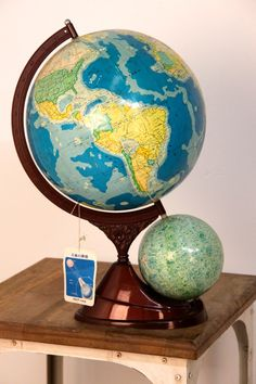 Vintage World globe earth and moon