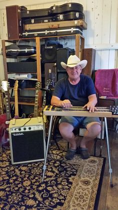 "Allen Wheeler was profiled in the April 2016 issue of VASE News. This talented musician has spent most of his life  making music.  He's recently taken delivery of a custom made VASE Tonesetter 18 (fitted with a 15""speaker). #australianamps #twinnecksteelguitar. #steelguitar"