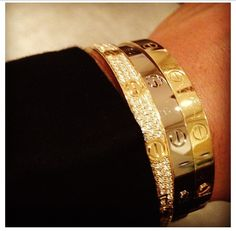 Cartier Love Bangles. Diamond, Pink Gold and Yellow Gold