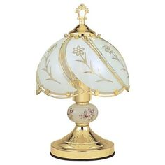 OK Lighting Touch Lamp with White Glass Floral Theme, Gold Touch Table Lamps, Touch Lamp, Metal Table Lamps, Glass Table, Light Bulb Bases, Lamp Light, Gold Table, Gold Desk, Floral Theme