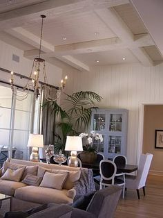 Great Room-painted paneled walls, vaulted ceiling