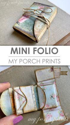 Mini Folio Mini Album Junk Journal Kit My Porch Prints image 7 Scrapbook Kit, Travel Scrapbook, Scrapbook Albums, Paper Bag Scrapbook, Mini Books, Kit Diy, Cute Journals, Free Digital Scrapbooking, Handmade Books
