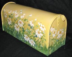 Hand Painted Mailbox with DAISIES on a YELLOW Background - Post style Designer Mailbox - Original Design- Functional Art
