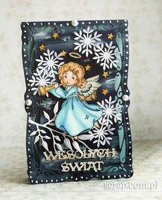 Kartka z aniołkiem http://www.hurt.scrap.com.pl/pojedynczy-stempel-gumowy-aniolek-z-dobra-nowina.html