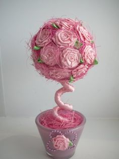 Фото Topiary Centerpieces, Arts And Crafts, Diy Crafts, Flower Boxes, Shabby Chic Decor, Fabric Crafts, Floral Design, Bouquet, Valentines