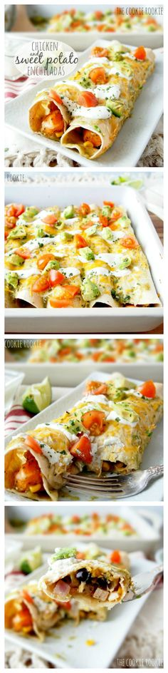 Chicken & Sweet Potato Enchiladas...healthy and delicious!! love this flavor  (use gf tortillas)