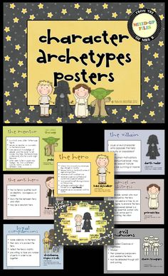 Teach mythological archetypes and the epic hero journey cycle with examples from Star Wars, Harry Potter, Lord of the Rings and other popular literature. These look great printed as posters for a bulletin board or projected onto a whiteboard for your lesson ($)