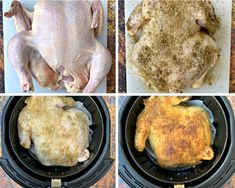How to cook a whole chicken in an air fryer. Healthy Breakfast Recipes, Healthy Baking, Easy Healthy Recipes, Easy Meals, Keto Recipes, Healthy Food, Air Fryer Recipes Whole Chicken, Whole Roasted Chicken, Chicken Recipes