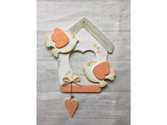 Ptáčci s domečkem oranžoví - Keramika Andreas® Cabins, Birds