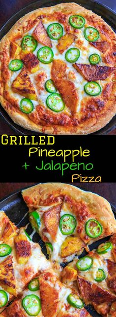 Grilled pineapple and jalapeno pizza. Sweet and spicy combo for people who like pizza with a twist! Spicy Recipes, Vegetarian Recipes, Healthy Recipes, Pepper Recipes, Healthy Foods, Pizza Calzone Recipe, Pizza Pizza, Cookbook Recipes, Pizza Recipes