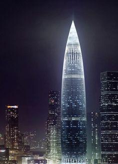 China Resources Tower - The Skyscraper Center China Architecture, Modern Architecture Design, Concept Architecture, Futuristic Architecture, Beautiful Architecture, Unusual Buildings, Amazing Buildings, Modern Buildings, Future Buildings