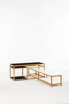 """Edward Wormley; """"5402 and #5403 Wood and Melamine Tables for Dunbar, 1960s."""