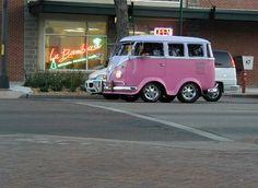 Short Pink Volkswagen Bus