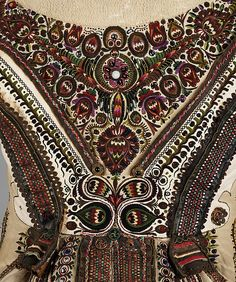 Date: late century Culture: Hungarian Medium: leather, wool, metal, glass… Hungarian Embroidery, Folk Embroidery, Learn Embroidery, Embroidery Stitches, Embroidery Patterns, Textiles, Folklore, Mode Russe, Embroidered Leather Jacket
